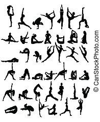 yoga silhouette on white background
