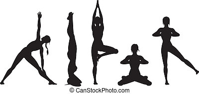 Yoga silhouette set - Yoga position doing by woman. ...