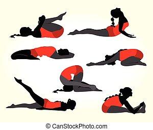 yoga pose sprinkhaan silhouette salabhasana vrouwen