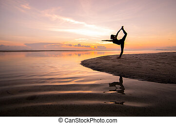 Yoga - Silhouette woman with yoga posure on the beach at ...