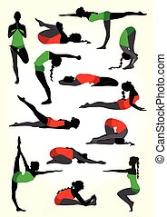 Yoga silhouettes background in white - Vector illustration...