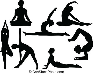 Yoga silhouettes collection - vector