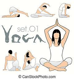 yoga, silhouettes, sätta