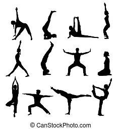 yoga, silhouettes