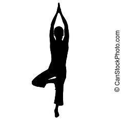 yoga, silhuett
