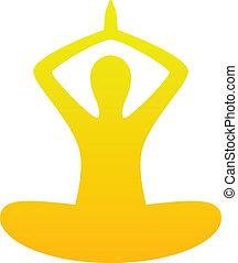 Yoga simple silhouette isolated on white ( orange )