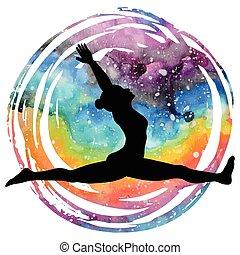 yoga, singe, pose., silhouette., hanumanasana, femmes