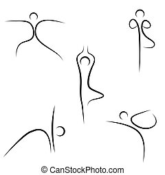 yoga sketch - illustration of yoga sketch on white...