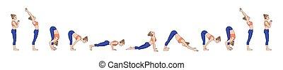 yoga, sol, sequence., a., salutation., surya, namaskara