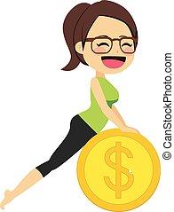 yoga, soldi, donna