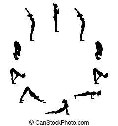 yoga, soleil, sequence., a., salutation., surya, namaskara