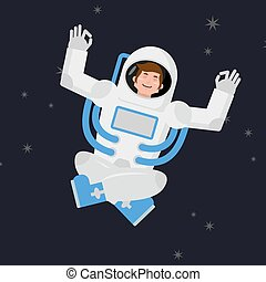 Yoga Space. astronaut meditating in open space. Cosmonaut Zen and relaxation. Man in Space Suit knowledge and enlightenment