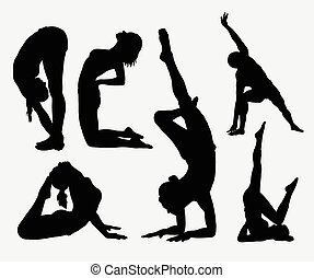 Yoga sport activity silhouettes