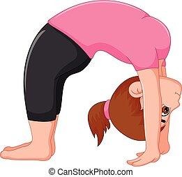 Yoga sport coach cartoon in action