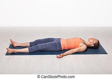 yoga, sportif, crise, asana, savasana, girl, relâche