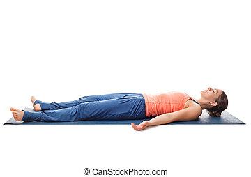 yoga, sportif, crise, relâcher, yogi, asana, savasana, girl
