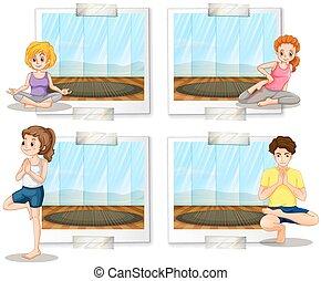 yoga, stanza, persone