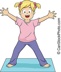 Illustration of a Young Girl Doing the Standing Starfish Yoga Pose