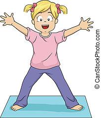Yoga Starfish Pose - Illustration of a Young Girl Doing the ...