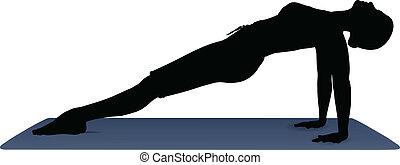 yoga stilling, positur, illustration, vektor, planke, opadgående