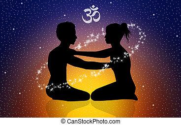 Yoga - illustration of cosmic energy