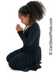 Yoga - Adorable five year old African American Girl in Yoga...
