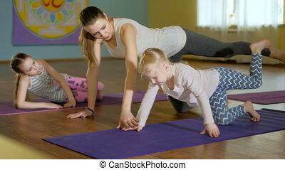 yoga, stosowność, razem, studio, macierz, daughtersr