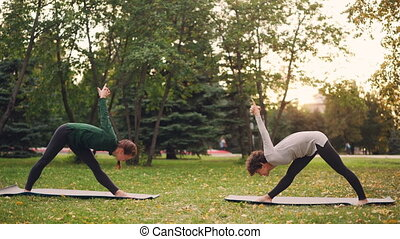 Yoga student is exercising outdoors with instructor...