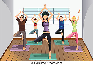 Yoga students at yoga studio - A vector illustration of yoga...