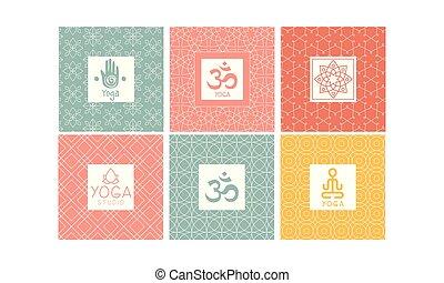 Yoga studio logo design set, creative template for label, badge or emblem vector Illustration