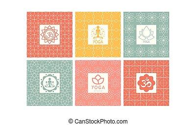 Yoga studio logo set, creative design element for label, badge or emblem vector Illustration