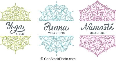 Yoga studio logo set with mandalas isolated on white background. Hand lettering elements. Vector illustration.