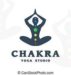 Yoga studio logo template. Chakra company logotype. Meditation pose silhouette design. Vector man label. Creative wellness illustration.