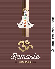 Yoga studio business template with body silhouette doing lotus pose and chakra elements in gold color. EPS10 vector.