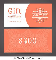 Yoga Studio Vector Gift Certificate Template - Yoga...
