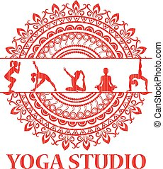 Yoga style mandala with silhouettes in yoga poses.