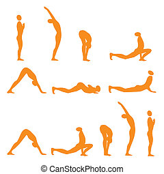 Yoga sun salutation - Set of sun salutation yoga exercises,...