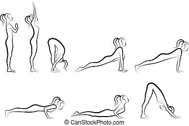 set of sun salutation yoga exercises, vector illustration