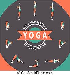 Surya Namaskara A - Yoga. Surya Namaskara A. Sun salutation.