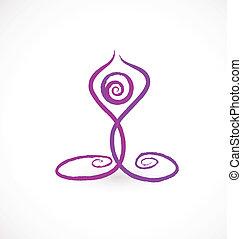 yoga, swirly, pose, logo