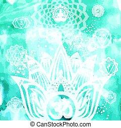 yoga, symbole, fond, ésotérique, lotus