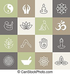 Yoga symbols and poses for pilates studio or zen healthy relaxation meditation lifestyle class