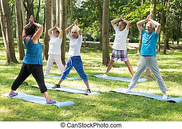 Yoga teacher and seniors in a park