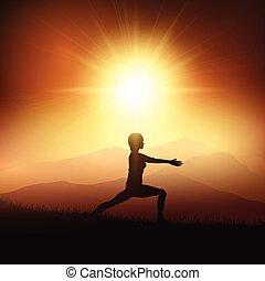 yoga, tegen, ondergaande zon , vrouwlijk, positie, landscape, 0704
