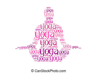 yoga text on women graphic and arrangement concept