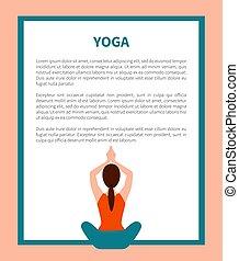 yoga, texte, pose, illustration, échantillon, vecteur, bannière