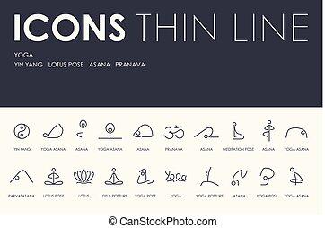 YOGA Thin Line Icons