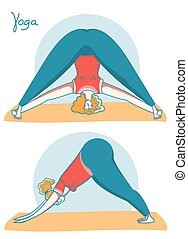 Yoga time. Woman doing yoga on sport mats .Vector illustration isolated on white