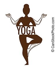 Yoga titled graphic sketch art with outline of a woman