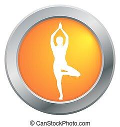 Yoga Tree Pose Orange Icon